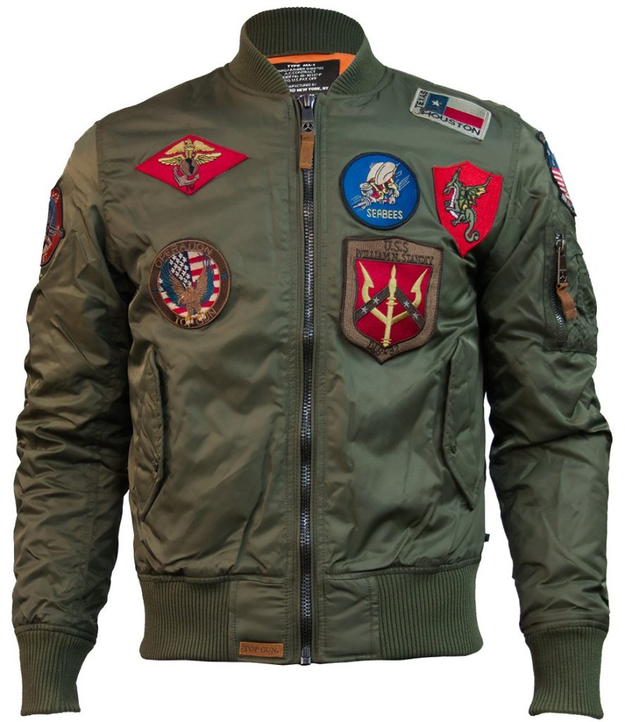 TGJ1540POV-TopGun-Ma1-Nylon-Bomber-Jacket-With-Patches-Olive-Front