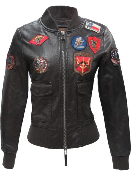 TGJ1680BR-Top-Gun-Womens-Vegan-Leather-Bomber-Jacket-with-Patches-Brown-Front