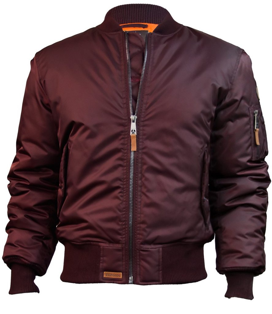 Top Gun MA-1 Nylon Bomber Jacket BURGUNDY