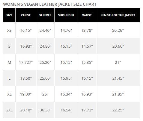 Top Gun Womens Leather Jacket Size Chart